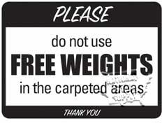 "Free Weights/Carpet Area Sign, 9""X12"" - Click for larger picture"
