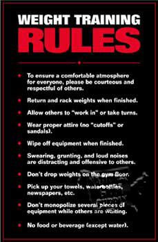 Weight Training Rules, Laminated - Click for larger picture