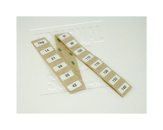 Weight Stack Decals, 7-140 Kg - Click for larger picture