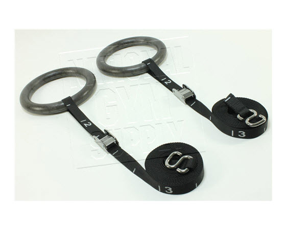 Gymnastic Rings W/Straps, Black - Click for larger picture