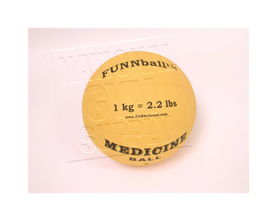 Medicine Ball, Rubber, 1 Kg/2.2 Lbs - Click for larger picture