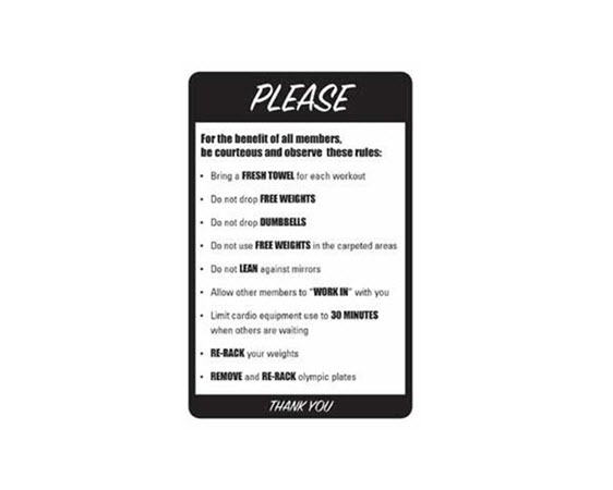 "GP001-Gym Rules Sign, 12""x18"" (deplete)"
