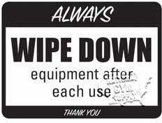 """Equipment Wipe Down Sign, 9"""" X 12"""" - Click for larger picture"""