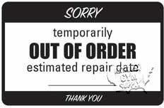 """Out Of Order Sign W/Chain, 6""""X9"""" - Click for larger picture"""