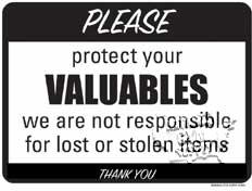 "Protect Your Valuables Sign, 9""X12"" - Click for larger picture"