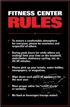 GP165L-Fitness Center Rules, Laminated
